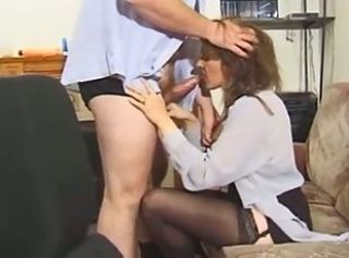 Blowjob British European MILF Stockings Vintage