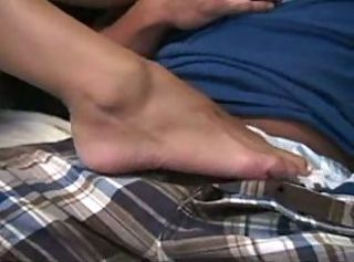 Footjob with white toes