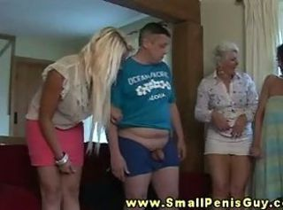 Small dick guy getting humiliated by doms