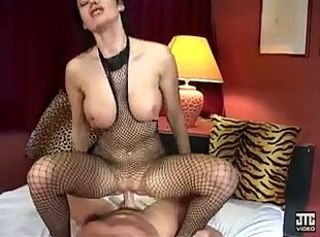 Big Tits European Fishnet French MILF Riding