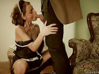 Blowjob Cute European French Maid MILF Uniform