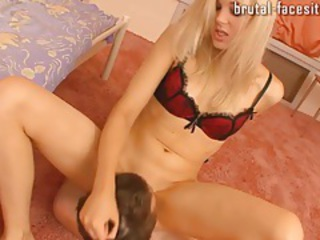 Skinny little slut sits on his face with cunt tubes