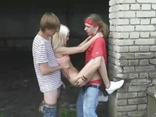 Amateur Outdoor Russian Skinny Teen Threesome