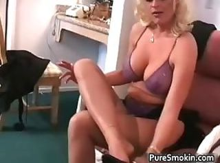 Big Tits Lingerie MILF Natural Smoking