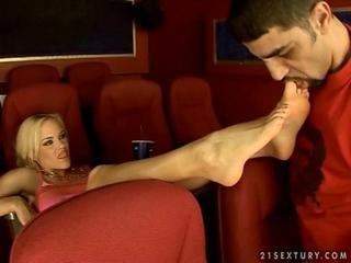 Blonde enjoys footsex in cinema Sex Tubes