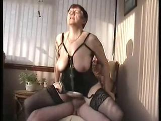Big Tits Corset Mature Natural Riding SaggyTits Stockings Wife