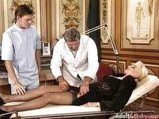 Blonde Doctor European German MILF Stockings Threesome