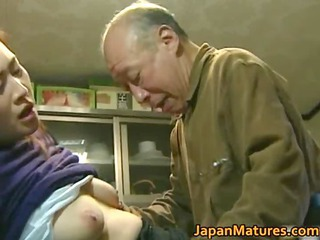 Asian Daddy Japanese Mature Old and Young SaggyTits
