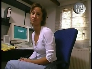 Hot Office Girl Fingers Her Pussy And Sucks Cock !