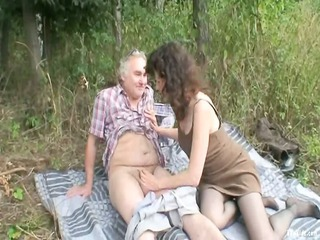 Daddy Handjob Mature Older Outdoor Small cock Stockings