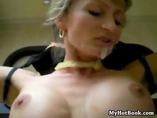 cougar chick friend strapped to bench and given a