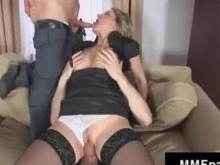 Blowjob Mature Panty Riding Stockings Threesome