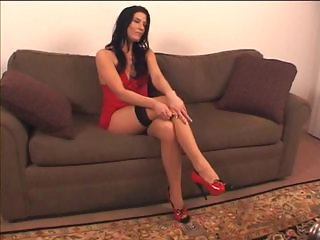Smoking hot brunette in nylons, with a foot fetish