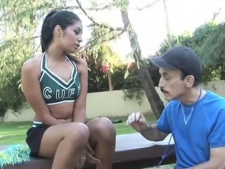 Cheerleader Daddy Interracial Old and Young Outdoor Teen Uniform