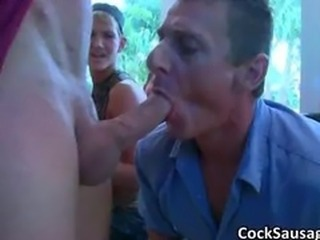 Huge gay cock sucking orgy part2