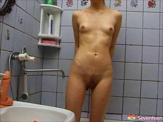 Bathroom Dildo Skinny Small Tits Teen