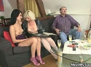 Daddy Daughter Family Mature Mom Old and Young Teen