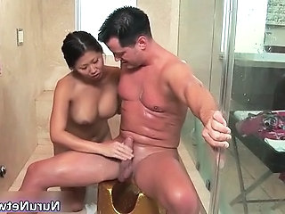 Nasty extreme horny asian babe blows