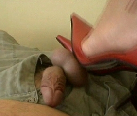 foot job in red high heels