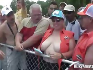 Amateur BBW MILF Outdoor Party Public SaggyTits