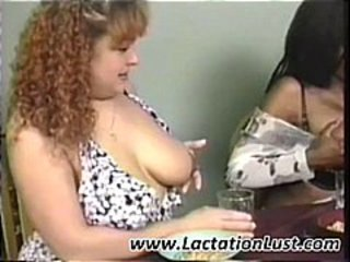 Three ladies with lactating boobs are using them for cereal