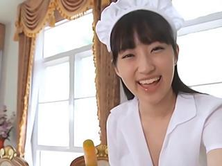 Asian Cute Maid Teen Uniform