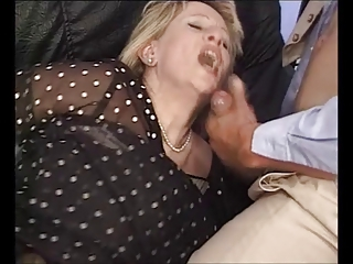 Mature French, two guys &; big dildo