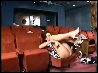 Interracial gangbang in theater