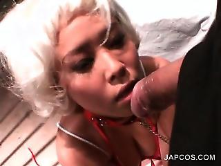 Tied Up Asian Slut Giving Hot Blowjob In Pov Style