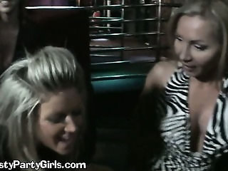 Two Horny Ladies Sharing A Big Dick In A Party