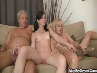 Daddy Daughter Family Mature Mom Old and Young Small cock Teen Threesome