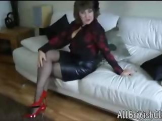 British Mature Beauty In Leather Skirt And Patent Red Heels british euro brit european cumshots swallow