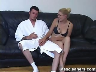 Blonde mistress facesits a man for ass licking session