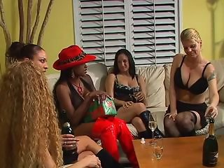Bored MILFs have some drinks before stripping and having pleasure