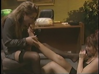 2 lesbian hotties in action at the office