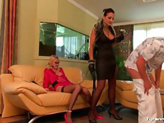 Mistress flogs his bare chest hard and rough tubes
