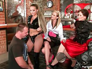 Guy submits and they dress him in lingerie tubes