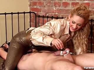 She ties him up and makes his cock and balls hurt tubes