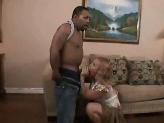 Nasty blonde ass fucked and jizzed by black cock