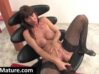 """With A Big Black Dildo A Young Brunette Milf Masturbates On A Black Chair"""" class=""""th-mov"""