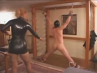 Obscene Jenny McCarthy punishes her males slave in their dungeon
