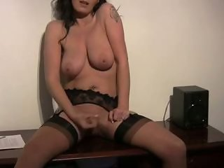Masturbating MILF Natural SaggyTits Solo Stockings