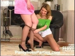 Lucky dude gets to fuck and becomes sandwiched between girls in silky hose