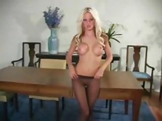 Babe Blonde Pantyhose Silicone Tits