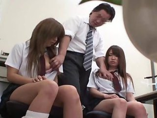 Asian Japanese Old and Young Student Teacher Teen Threesome Uniform