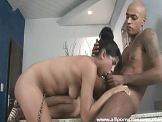 Sucked cock slides into thickly hairy pussy tubes