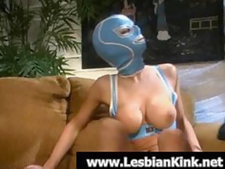 super homosexual woman into rubber mask licking a