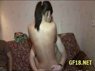 Amateur Girlfriend Riding Teen Threesome