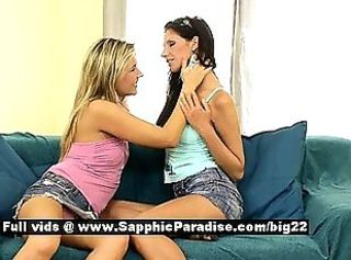 Cherry and Luka stunning lesbo teens kissing and licking pussy