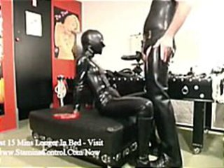 Latex clad couple with her blowing and then getting banged